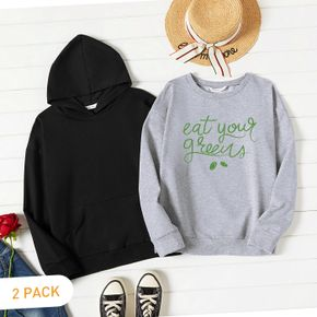 2-Pack Woman Letter Print Long-sleeve Pullover