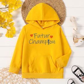 Toddler Graphic Letter and Heart-shaped Print Long-sleeve Hooded Pullover