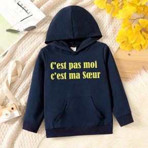 Toddler Graphic Letter Print Long-sleeve Hooded Pullover