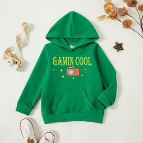 Toddler Boy Graphic Letter and Camera and Stars Print Long-sleeve Hooded Pullover