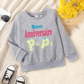 Toddler Graphic Letter Print Long-sleeve Pullover