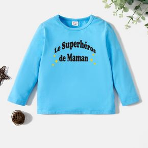 Toddler Boy Graphic Letter and Stars Print Long-sleeve Tee