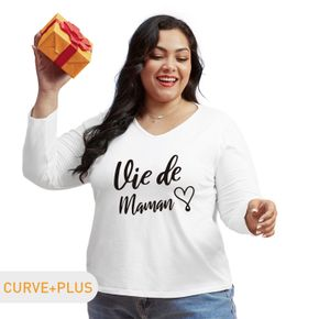 Women Plus Size Graphic Letter and Heart-shaped Print V Neck Long-sleeve Tee