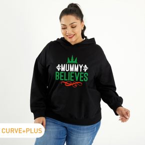 Woman Plus Size Letter Print Long-sleeve Hooded Pullover