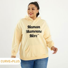 Women Plus Size Graphic Letter Print Long-sleeve Hooded Pullover