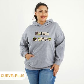 Women Plus Size Graphic Letter and Camouflage Print Long-sleeve Hooded Pullover