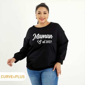 Women Plus Size Graphic Letter and Heart-shaped and Figure Print Round-collar Long-sleeve Pullover