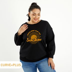 Woman Plus Size Letter & Sunshine Print Round Neck Long-sleeve Pullover
