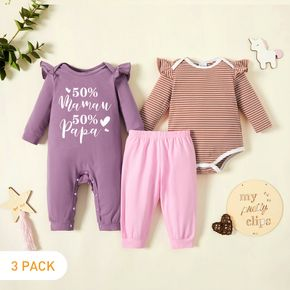 3-Pack Baby Girl Graphic Letter and Figure and Heart-shaped Print Striped Ruffled Romper Jumpsuit Set
