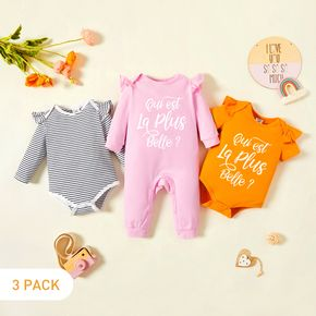 3-Pack Baby Girl Graphic Letter Print Striped Ruffled Romper Jumpsuit Set