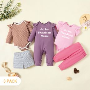 5-Pack Baby Girl Graphic Letter Print Striped Ruffled Romper Jumpsuit Pants Set