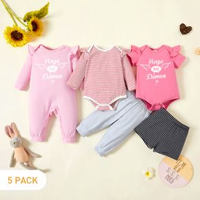5-Pack Baby Girl Graphic Letter and Angel Print Striped Ruffled Romper Jumpsuit Pants Set