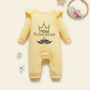 Baby Girl Graphic Letter and Crown and Beard Print Ruffled Long-sleeve Jumpsuit
