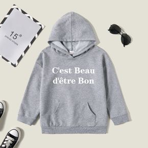 Kid Graphic Letter Print Long-sleeve Hooded Pullover