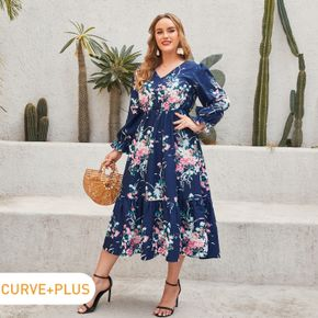 Women Plus Size Vacation V Neck Floral Print Ruffled Long-sleeve Dress