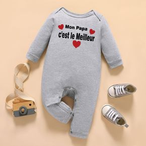 Baby Graphic Letter and Heart-shaped Print Long-sleeve Jumpsuit