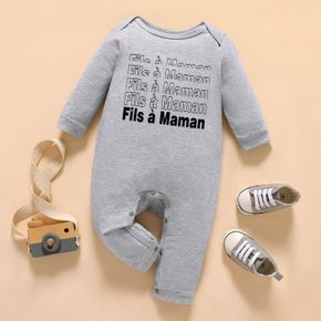 Baby Boy Graphic Letter Print Long-sleeve Jumpsuit
