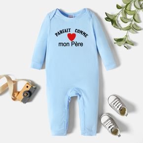 Baby Boy Graphic Letter and Heart-shaped Print Long-sleeve Jumpsuit