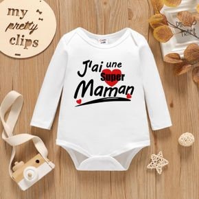 Baby Graphic Letter and Heart-shaped Print Long-sleeve Romper