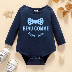 Baby Boy Graphic Letter and Bowknot Print Long-sleeve Romper