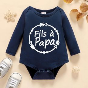 Baby Boy Graphic Letter Print Long-sleeve Romper
