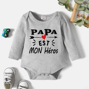 Baby Boy Graphic Letter and Heart-shaped Print Long-sleeve Romper