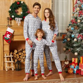 Christmas All Over Print Light Grey Family Matching Long-sleeve Hooded Onesies Pajamas Sets (Flame Resistant)