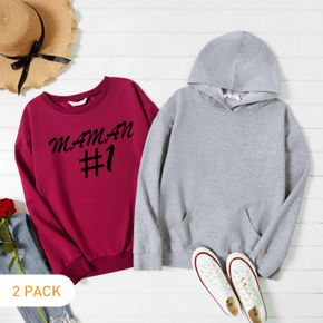 2-Pack Women Graphic Letter and Figure Print Long-sleeve Pullover & Hooded Pullover Set
