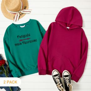 2-Pack Women Graphic Letter Print Long-sleeve Pullover & Hooded Pullover Set