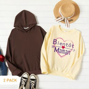 2-Pack Women Graphic Letter and Heart-shaped Print Long-sleeve Pullover & Hooded Pullover Set