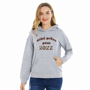 Woman Letter & Number Long-sleeve Hooded Pullover