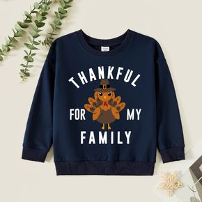 Thanksgiving Kid Boy Graphic Letter and Turkey Long-sleeve Pullover