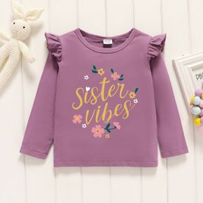 Toddler Girl Graphic Letter and Floral Print Ruffled Long-sleeve Tee