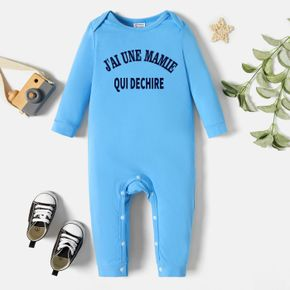 Baby Graphic Letter Print Long-sleeve Jumpsuit