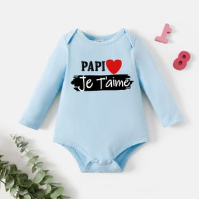 Baby Graphic Letter and Heart Print Long-sleeve Romper
