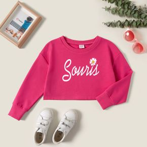Kids Girl Graphic Letter and Floral Print Long-sleeve Pullover