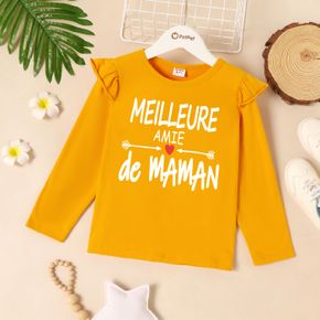 Kids Girl Graphic Letter and Heart-shaped Print Ruffled Long-sleeve Tee