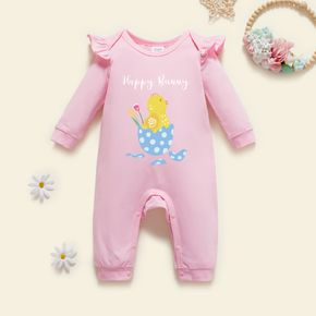 Baby Girl Chicken & Floral Print Long-sleeve Ruffled  Jumpsuit