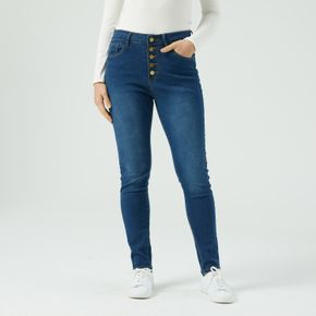 High-Waisted High Stretch Button Up Skinny Jeans