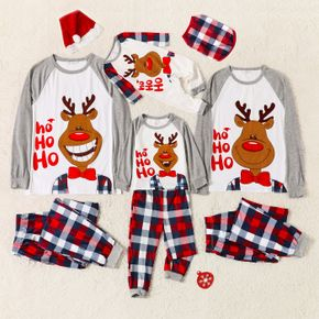 Christmas Elk and Letter Print Family Matching Long-sleeve Plaid Pajamas Sets (Flame Resistant)