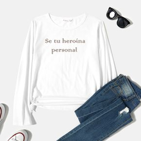 Woman Graphic Letter Print Long-sleeve Round-collar Tee