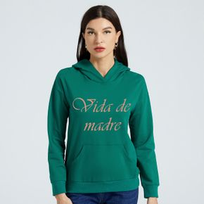 Woman Graphic Letter Print Long-sleeve Hooded Pullover