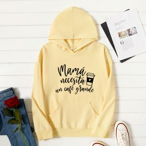 Woman Graphic Letter & Coffee Print Long-sleeve Hooded Pullover
