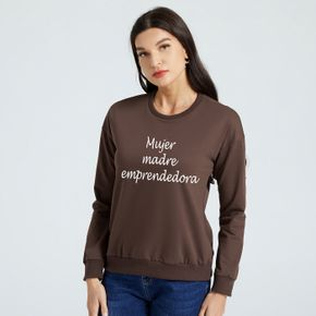 Woman Graphic Letter Print Long-sleeve Pullover
