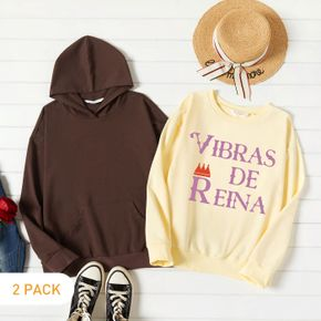 2-Pack Woman Graphic Letter & Crown Print Long-sleeve Pullover Set