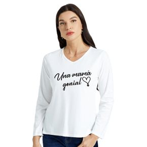 Woman Graphic Letter & Heart Print Long-sleeve V Neck Tee