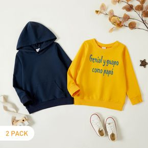 2-Pack Toddler Boy Graphic Letter Print Long-sleeve Pullover Set