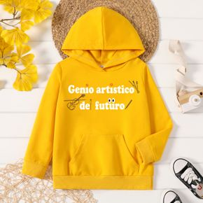 Toddler Boy Graphic Letter Print Long-sleeve Hooded Pullover