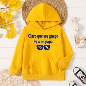 Toddler Boy Graphic Letter & Glasses Print Long-sleeve Hooded Pullover