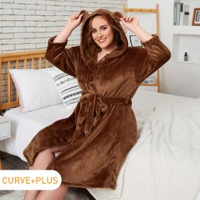 Women Plus Size Casual Hooded Belted Lounge Velvet Robe
